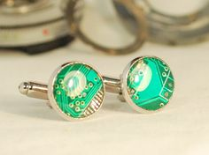 Handcrafted Cyberpunk Cufflinks, handmade circuit board Mens formal dress accessories, weddings.
