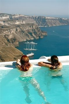 Santorini, Greece - My dream is to be one of these girls; swim to the edge of the pool, look farrrr beyond the horizon. So... Who wants to be my partner in crime? ;)