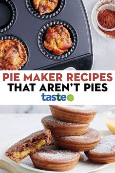 Whether you're using a Kmart pie maker or another brand, put it to good use with these sweet and savoury muffins, brownies, tarts and fritters that go way beyond a standard puff pastry pie. #piemaker #kmartpiemaker #piemakerrecipes #kmartpiemakerrecipes #dessert #baking #australia #australian #australianrecipes Mini Pie Recipes, Best Dessert Recipes, Fun Desserts, Baking Recipes, Breville Pie Maker, Just Pies, Cakes Plus, Mini Pies, Sweet Tarts