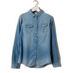 Pull & Bear Basic Denim Shirt ($37) ❤ liked on Polyvore