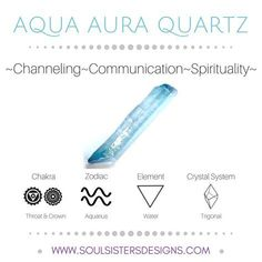 Metaphysical Healing Properties of Aqua Aura Quartz, including associated Chakra, Zodiac and Element, along with Crystal System/Lattice to assist you in setting up a Crystal Grid. Go to https://www.soulsistersdesigns.com to learn more!