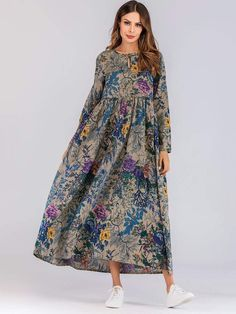 To find out about the Floral Print Hidden Pocket Longline Dress at SHEIN, part of our latest Arabian Clothing ready to shop online today! Muslim Fashion, Hijab Fashion, Fashion Dresses, Jeans Fashion, Fashion Mode, Fashion News, Womens Fashion, Fashion Hacks, Style Fashion