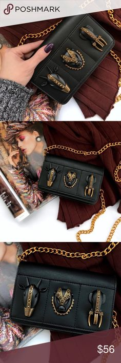"""""""Tale of Three Kings"""" interior lined in polyester for easy wipe away cleaning, magnetic closure, gold hardware, incredibly ornate details, vegan leather, available in two very different looks, black and matte fuchsia (both of which are a must have because they are INCREDIBLE in detailing).  bundle to get a discount. TSH Bags"""