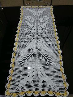 Crochet Table Runner Model Birds Size We manufacture from . Crochet Table Runner, Crochet Tablecloth, Crochet Doilies, Crochet Bedspread Pattern, Crochet Stitches Patterns, Crochet Birds, Thread Crochet, Filet Crochet Charts, Free Crochet
