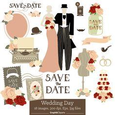 Wedding Day. Wedding Clip Art Bridal Shower Save the Date