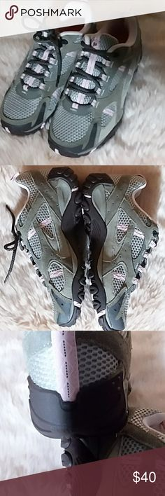 NWOT Women's Merrell Shoes Pink & Grey The most comfortable shoes for active lives. These women's pink and grey Merrill shoes, new, never worn without box or tags are a size 8. Merrell Shoes
