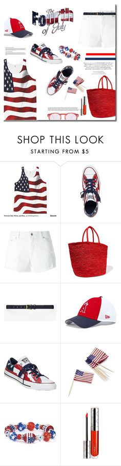 """""""Happy 4th of July"""" by mslewis6 ❤ liked on Polyvore featuring Converse, Dondup, Sensi Studio, Ann Taylor, New Era, Sur La Table and By Terry"""