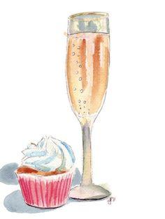 Champagne and Cupcake Watercolor Print