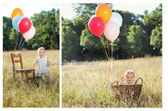 1 Year Old Photo Shoot - Balloons and Chair... THESE are adorable!!