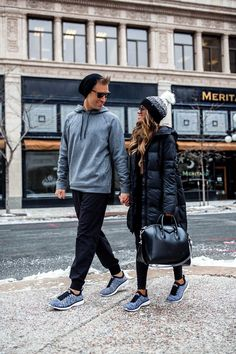 fashion blogger mia mia mine wearing a lululemon outfit with apl sneakers for winter with her husband. #gymstyle #athleisure #gymoutfits #fitspo Matching Couple Outfits, Matching Couples, Cute Couples, Night Outfits, Winter Outfits, Cute Outfits, Classy Couple, Fitness Gifts