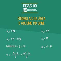 Fórmulas da área e do volume do cone. Clique na imagem para assistir à aula em vídeo sobre o assunto.