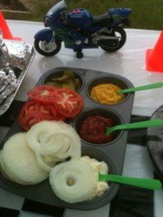 BBQ idea's, separate condiments in a cupcake tin