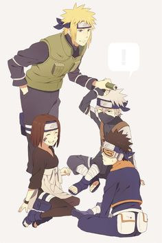 Team Minato was a team that was headed by the future Fourth Hokage, Minato Namikaze with Kakashi Hatake, Obito Uchiha and Rin Nohara being the members of the team. Anime Naruto, Naruto Kakashi, Manga Anime, Naruto Gaiden, Naruto Teams, Gaara, Team Minato, Blue Exorcist, Konoha Village