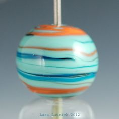 Orange, Turquoise and Teal Lampwork Bead