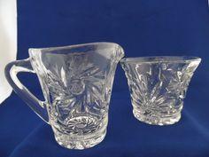Crystal Creamer and Sugar Bowl Set Pinwheels by TheMichiganAttic