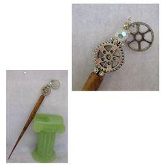 Silver Steampunk Gear Charm Beaded Wooden Hair Stick  http://cgi.ebay.com/ws/eBayISAPI.dll?ViewItem=150979670830
