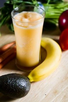 Sunshine Smoothie : Heart Smart Smoothies  Servings: 2  Ingredients  1 ripe banana  1 apple, peeled, seeded and cut into chunks  1/4 cup fresh carrots, cut into chunks  1 cup orange juice (not from concentrate)  1/2 low-fat milk or non-dairy alternative, such as soy milk  1/2 cup crushed ice