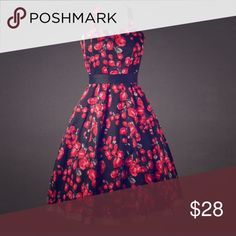 """Retro Rockabilly Swing Dress Black & Red Elegant pinup print retro 50s style rockabilly pleated dress. Brand New. Fits 16-18.  Bust is 43"""" with some stretch and waist is 38"""". Dresses Midi"""