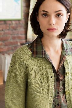 This graceful cabled yoke cardigan is knit from the top down, for a perfectly fit! From Vogue Knitting. Kristen TenDyke writes fun-to-knit patterns! Cardigan Pattern, Knit Cardigan, Knit Sweaters, Knit Jumpers, Men Sweater, Knitting Stitches, Hand Knitting, Rowan Knitting, Cable Knitting