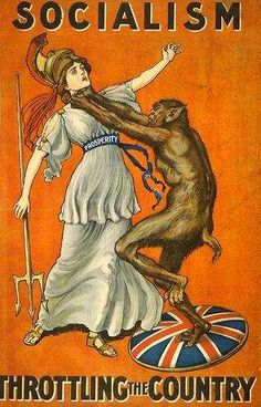 """""""Socialism... Throttling the Country""""     A British Propaganda Poster from WWI-- too bad we're not aware of it in this country!"""