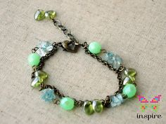 #Handmade Green Czech Crystal Double Strand #Bracelet by InspireCraftcom, $11.99 #inspirecraft