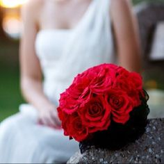 """Paper flower bouquet of ruby red roses and 7"""" duchess rose  www.thecrimsonpoppy.com  #wedding #bouquet #paper #red #rose #composite #duchess"""