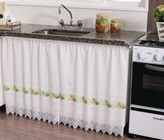 32 Ideas Unique Kitchen Cabinet Curtain Ideas To Hide Your Clutter, For curtains you first have to decide what kind of curtains you wish to put on your windows. Needless to say, there are a number of things you need to. Plain Curtains, Modern Curtains, Small Kitchen Organization, Kitchen Storage, White Curtain Rod, Curtain Rods, Kitchen Design, Kitchen Decor, Kitchen Ideas
