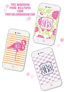 Free Monogram Phone Wallpaper with monograms from printablemonogram.com #monogram