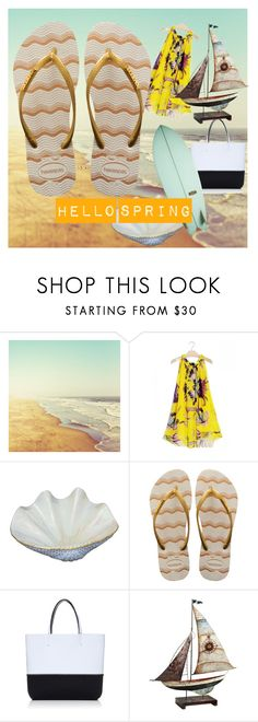 """Hello spring break"" by havaianas-usa ❤ liked on Polyvore featuring Herend, Havaianas, Leghilà, Pier 1 Imports and Almond Surfboards"