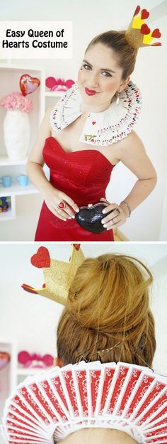 Cosplay Costume halloweencrafts: DIY Queen of Hearts Card Collar Tutorial from The Joy of Fashion. Clever and easy card collar tutorial made out of stapled cards and then bobby pinned to your hair. Halloween 2017, Diy Halloween Costumes, Cosplay Costumes, Halloween Party, Costume Ideas, Tutu Costumes, Easy Disney Costumes, Easy Halloween, Queen Of Hearts Card
