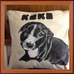 Another dog I hand painted on a cushion