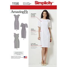 Simplicity Pattern 1156 Misses' and Miss Plus Amazing Fit Dress. Option of contrast panels and sleeve lengths.Separate patterns for B, C, D & DD cups.
