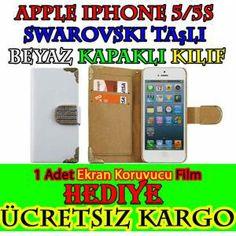 Apple iPhone 5/5S Kılıf-BEYAZ Cüzdanlı Taşlı 30.90 TL