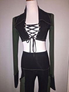 7a61b967860 Huntress Corset Lace-Up Mini Jacket, Black Cotton Lycra Green Rib, SMALL,  XLong Sleeves, Collar, Crop Top, Gothic, Festival Fairy
