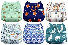 Black /& White 6 Pack Cloth Nappies Without Inserts Mama Koala One Size Baby Washable Reusable Pocket Cloth Diapers