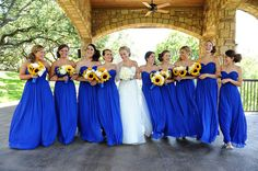 Bridesmaid dress style & color. Love the sun flowers