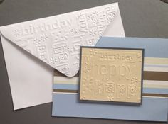 Embossed happy birthday card with matching embossed envelope