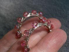Ohrringe,Creolen,rosa,pink, wirework,versilbert von kunstpause auf DaWanda.com