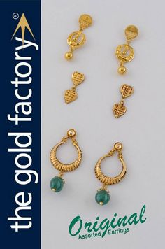 So, this post closes the short series on Thokai Earrings though, technically, these are all not thokai and therefore have been labelled 'Assorted Earrings'.  Fact is, only the one on top, a mini go-go dul, is a reji and wire affair ; the centre is a pair of cubed hand-struck hearts ; and the last one is a banded thokai kanbala with an enriched jade drop and half-topa tops.  Each is a treat to wear and unbelievably light (a constant advantage with thokai), and also very sweet and stylish. Gold Rings Jewelry, Gold Jewellery Design, Gold Earrings, Bridal Jewelry Sets, Wedding Jewelry, Ruby Bangles, India Jewelry, Jewelry Patterns, Designer Earrings