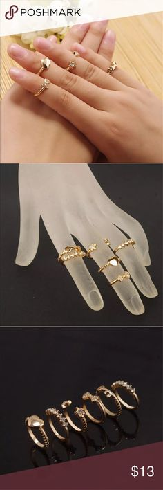 New ✨ 6pc Stacking Ring Set 😍✨ ✨ Fashion Jewelry ✨ Alloy, Gold Plated   🔸PRICE IS FIRM- already listed at lowest price  🔸If you want to save please look into bundling  🔸In Stock 🔸No Trades & NO HOLDS  🔸Will ship within 24- 48 hours Monday-Friday  🚫Please -NO- Offers on items priced $10 and under AND ON SALE ITEMS‼️  🚫Serious Inquiries Only❣️  🔹Bundle one or more items from my boutique to only pay one shipping fee✨ Jewelry Rings