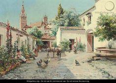 A Spanish Courtyard - Manuel Garcia y Rodriguez