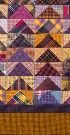 detail, Purple Geese plaid quilt by Susan Dague