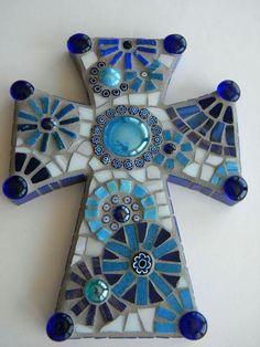 Beautiful cross made with broken glass