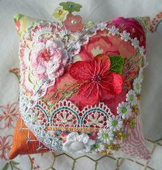 I ❤ crazy quilting, beading & embroidery . . . Little Garden Crazy Quilt Pincushion- Crazy Quilt block made into a pincushion. Crazy quilting created for the 2013 Crazy Quilt Journal Page project. ~By Fiberluscious