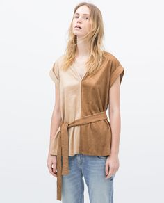 ZARA - TWO-TONE FAUX SUEDE T-SHIRT for $49.90 (also comes in brown and green)