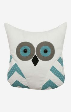 Baltic Blue Owl Throw Pillow - I can totally make this!