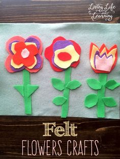 These looks like such cute flowers and fun crafts for the kiddos. Wonderful felt flowers crafts to occupy your little ones.