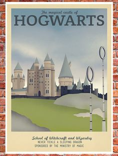 Retro Travel Poster - Harry Potter - School of Hogwarts - MANY SIZES - Modern Vintage Magic Wizard Geek Film Typography Art Print