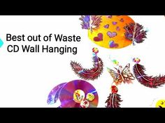 2019 Latest Best out of Waste Craft, CD Craft Idea - CD Wall Decor Welcome to Nima Kiran's Wings of Craft. Cd Crafts, Creative Crafts, Handmade Crafts, Wall Hanging Crafts, Fusion Art, Rose Tutorial, Leaf Template, Craft Work, Craft Tutorials