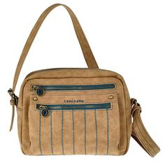 Bolso crossbody de pu de cierre de cremallera, 2 bolsillos exteriores, trasero e interior.  Medidas: 25x19x8